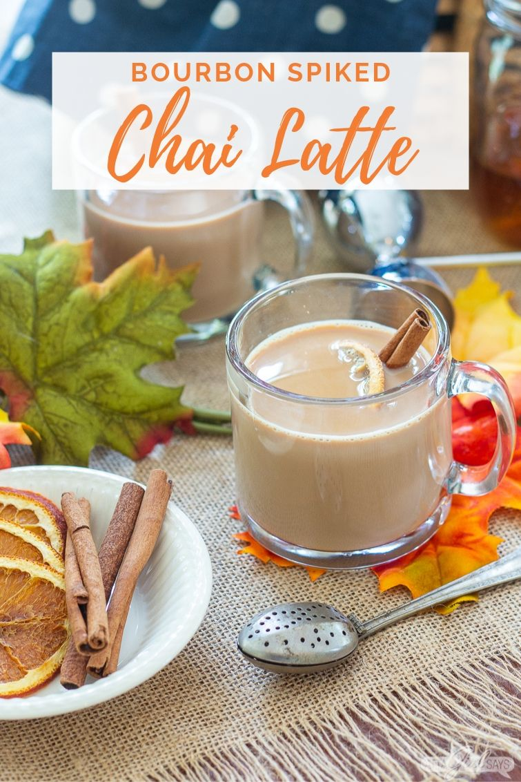 clear glass mug of chai tea lattle with a text overlay