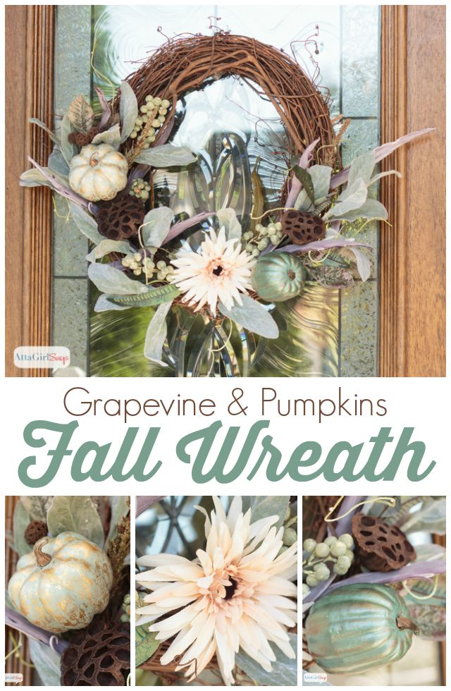 A lovely fall wreath featuring painted, gilded pumpkins on a grapevine form. I love the nontraditional colors of aqua and lavender.
