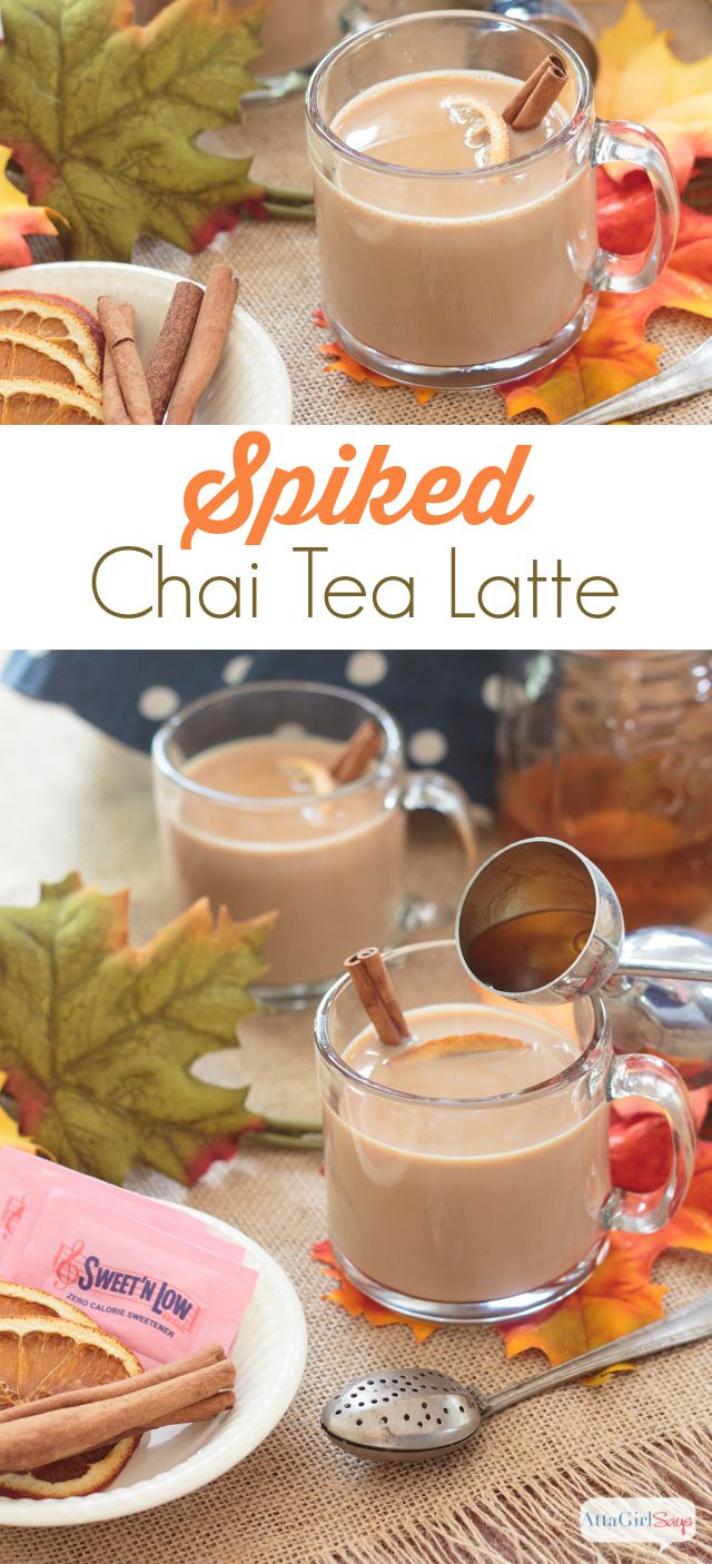 adding bourbon to a mug of spiked chai tea latte