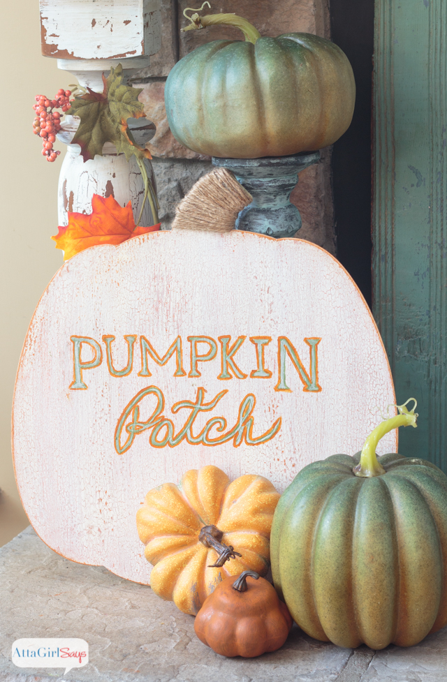 Learn how to paint this adorable pumpkin patch sign, plus see how other bloggers transformed the same wooden pumpkin.