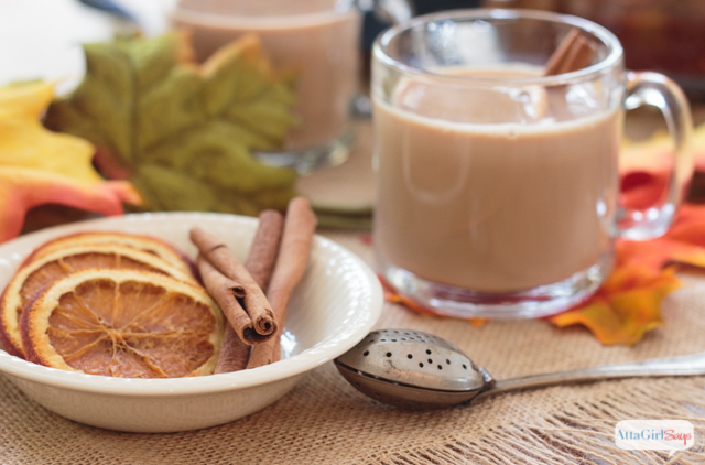 cinnamon sticks and orange slices to garnish spiked chai tea latte