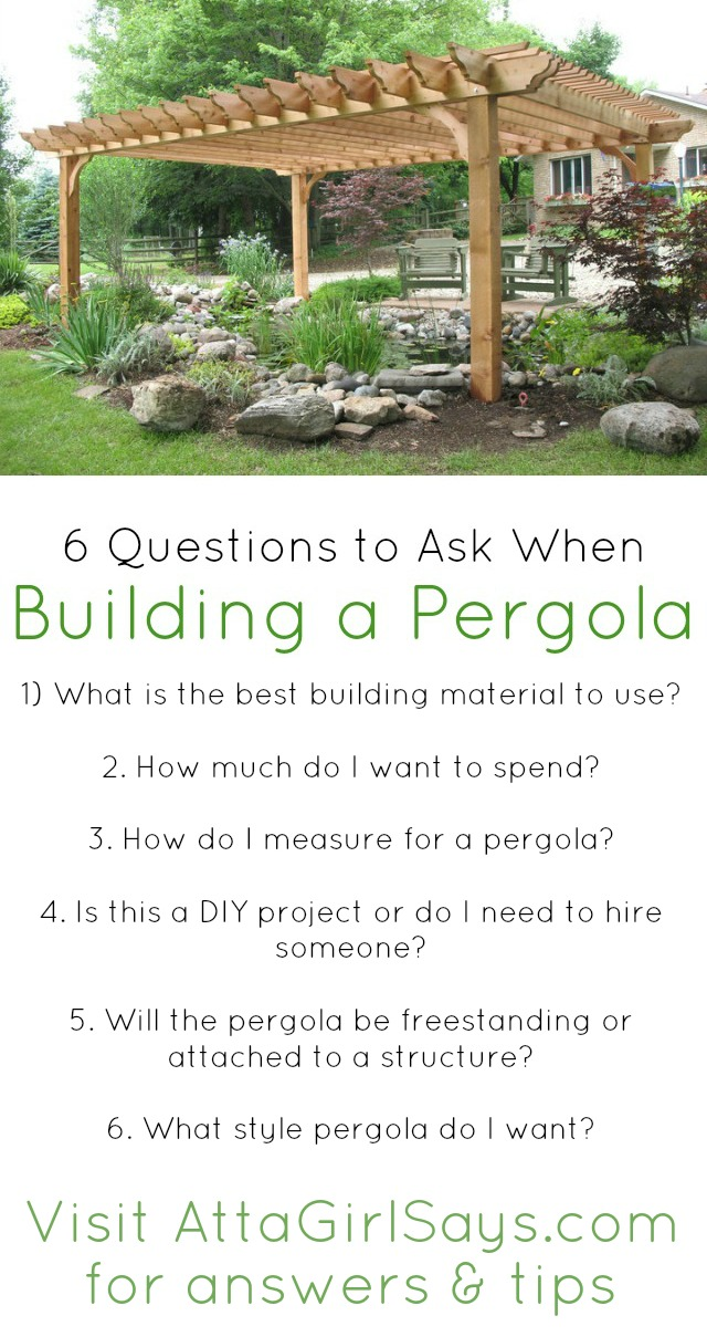 Planning on building a pergola to enhance the outdoor appearance of your home? This handy checklist will ensure you have all your bases covered before starting the project. These six questions will help you choose the right materials for your pergola, make sure your measurements are correct and help you decide whether to DIY the project, hire someone to build it for you or use a pergola kit
