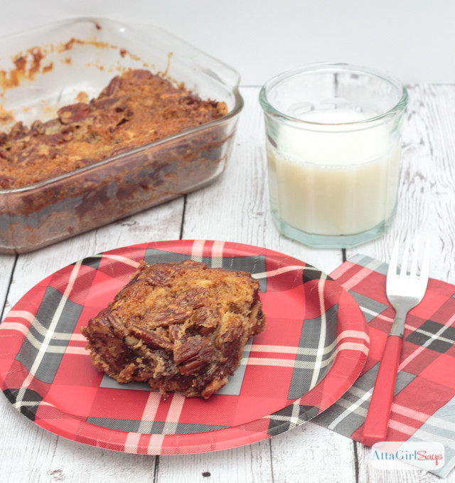Words can't describe how good these chocolate chip pecan pie bars are! Basically, it's like you put a chocolate pecan pie on top of chocolate chip cookies. #sponsored