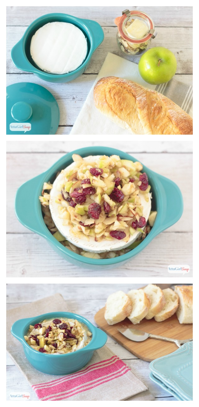 This baked brie recipe is always a hit at parties. Mix together brie, apples, cranberries, almonds and a touch of brown sugar and serve with hearty bread, tart apple slices and crackers. This is a quick and easy recipe that takes about 5 minutes to prep and 10-15 minutes to bake. It's great for parties and potlucks.