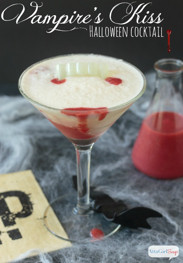 vampire's kiss halloween cocktail in a martini glass
