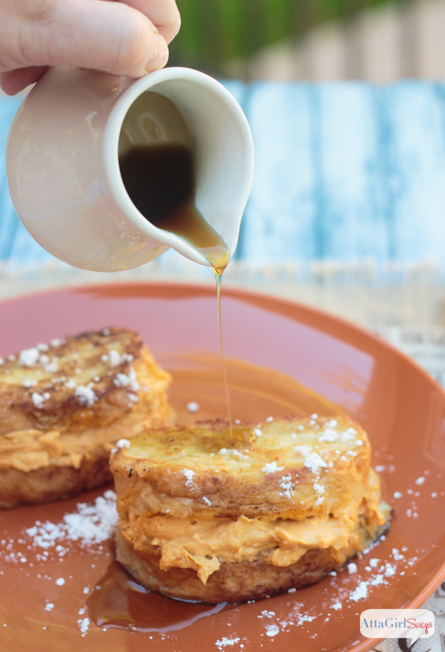 This mouth watering Pumpkin Pie Spice Stuffed French Toast should be your go-to fall breakfast. It features a sweet pumpkin cream cheese mixture sandwiched between slices of French bread and fried to golden perfection. #CreateDelight #IDelight #ad