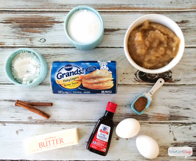 ingredients to make a homemade applesauce pie