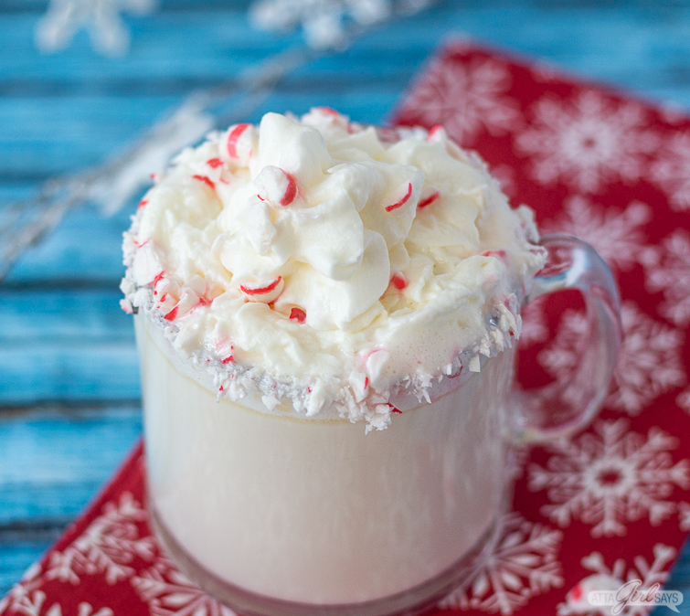 mug of Peppermint white hot chocolate mocha on a red napkin