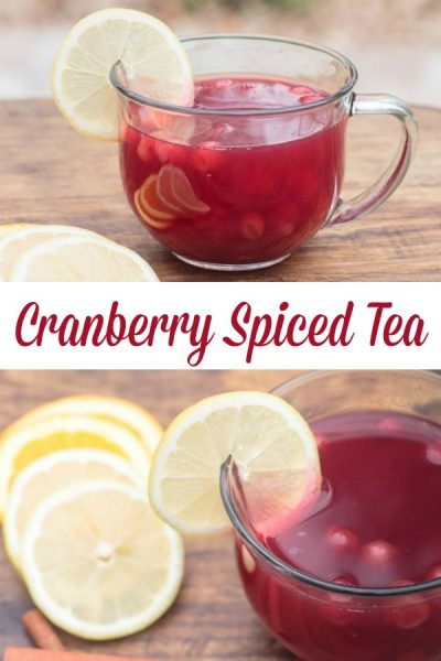 collage photo showing a mug of cranberry spiced tea garnished with lemon