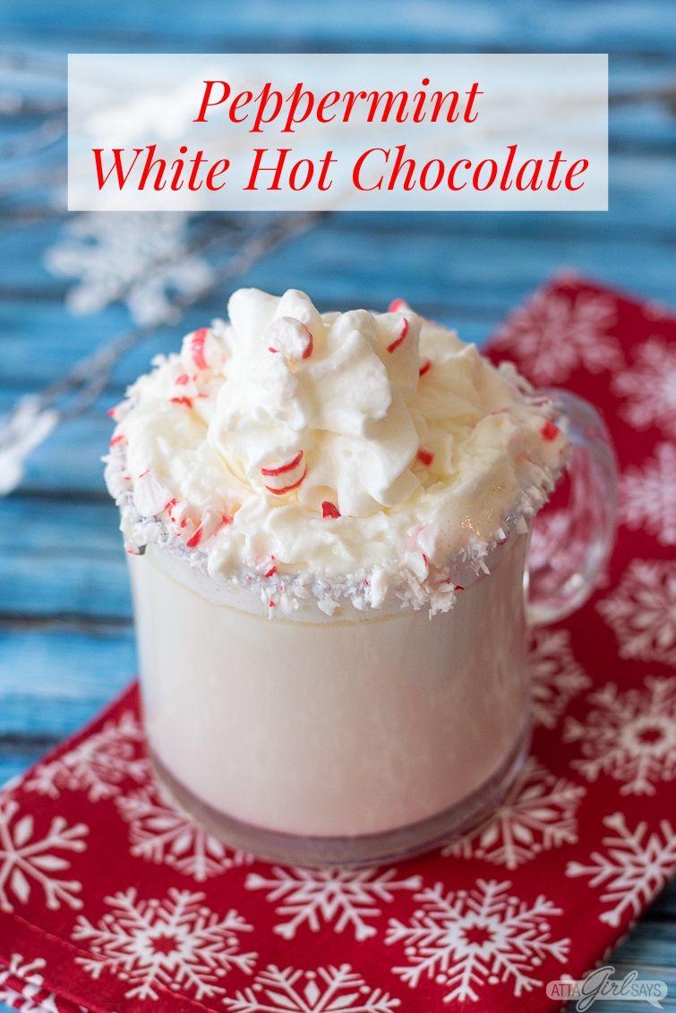 mug of Peppermint white chocolate mocha on a red napkin