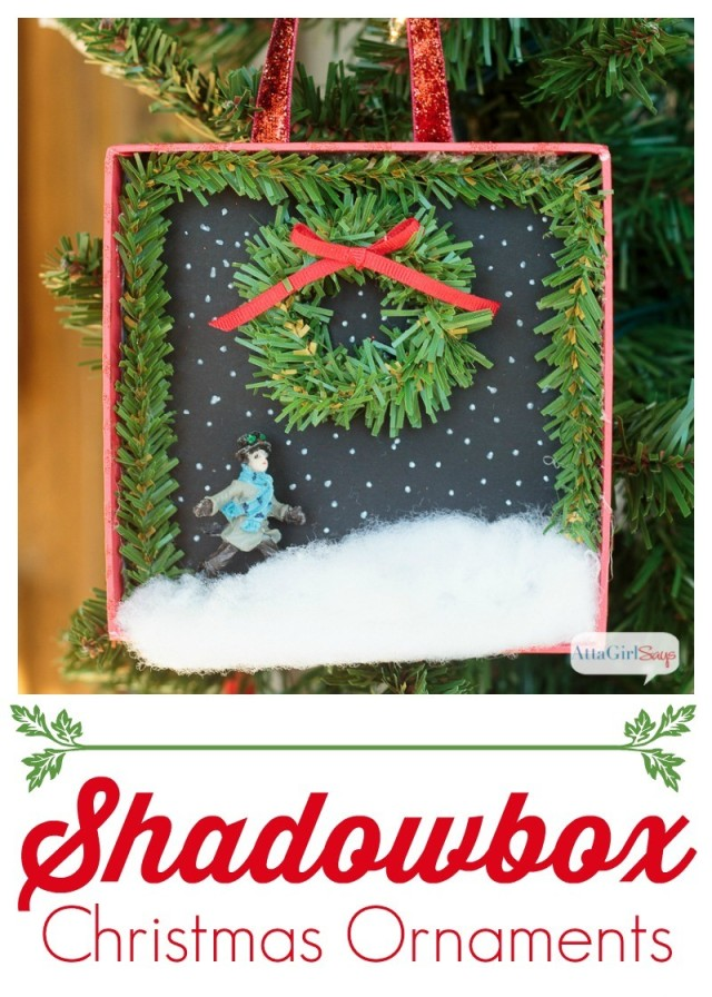 This Christmas ornament craft would be fun to do with a group of friends or with the family. Use old gift boxes and miniatures to make scenic shadowboxes! Pottery Barn sells ornaments like these for $16.50 each, but you can make your own for about $1!