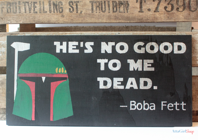 If you love Boba Fett, then you have to make this Star Wars sign featuring the coolest bounty hunter in the galaxy! #sponsored