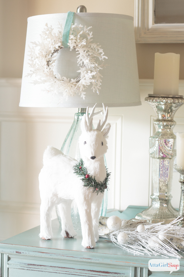 Create a winter wonderland using snowy white Christmas decorations accented with aqua. #ad #AtHomeForChristmas #AtHomeFinds