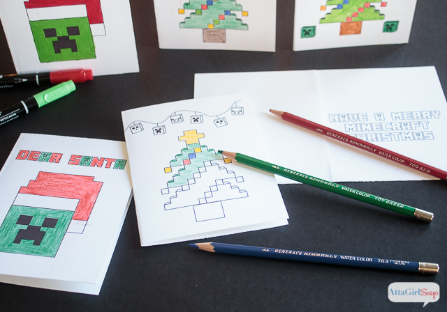 Minecraft Coloring Pages Christmas Cards - Atta Girl Says