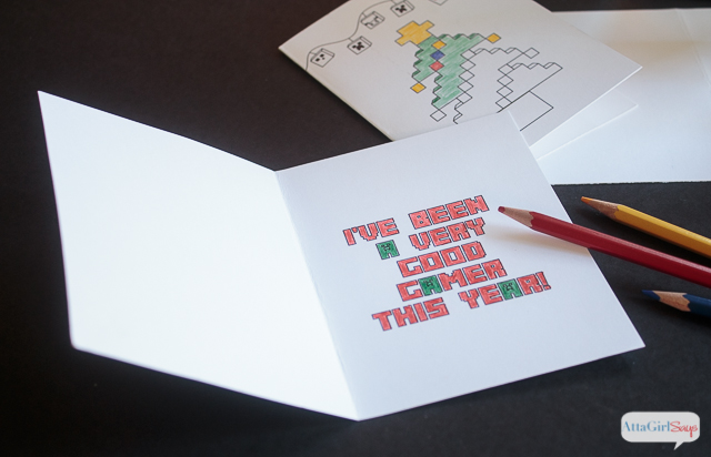 Pull out your markers, crayons and colored pencils and use these these FREE Minecraft coloring pages to make Minecraft Chriistmas cards for all your gamer friends. Coloring is one of the biggest trends in crafting right now because it's so relaxing. This is a fun family project for the holidays. There's even a free printable card you can send to Santa telling him that you've been a good gamer this year! #sponsored #mygameband #gameonthego