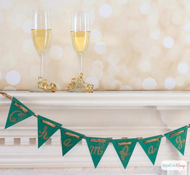 champagne o a mantel with a party banner