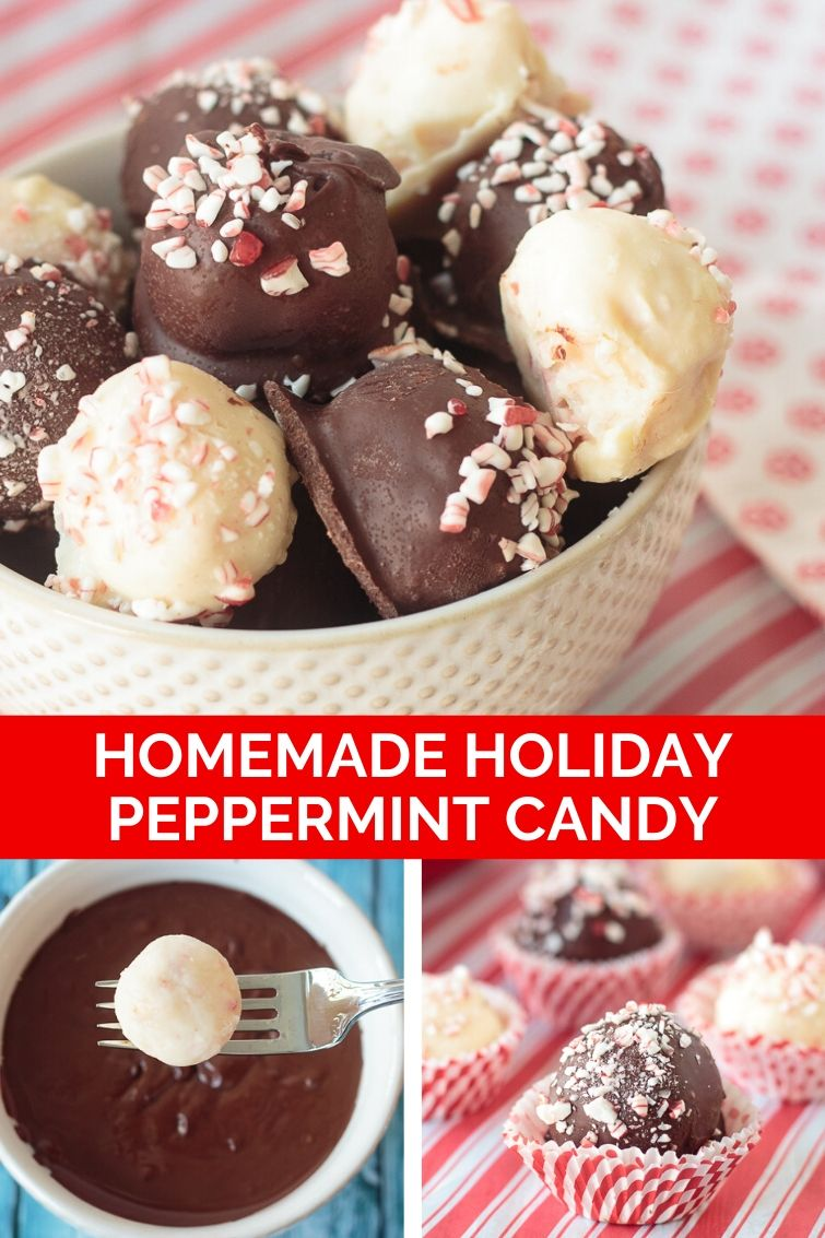 collage photo showing how to make chocolate dipped peppermint candies
