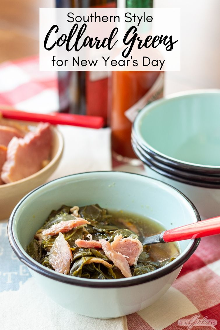 bowl of collard greens and ham with hot sauce and vinegar