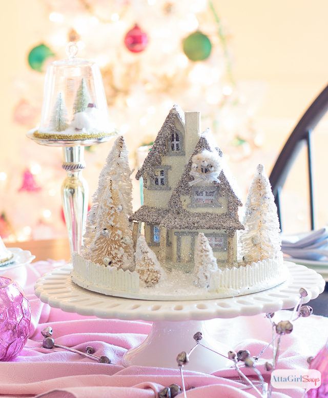 Vintage White Christmas Tree with Shiny-Brite Ornaments