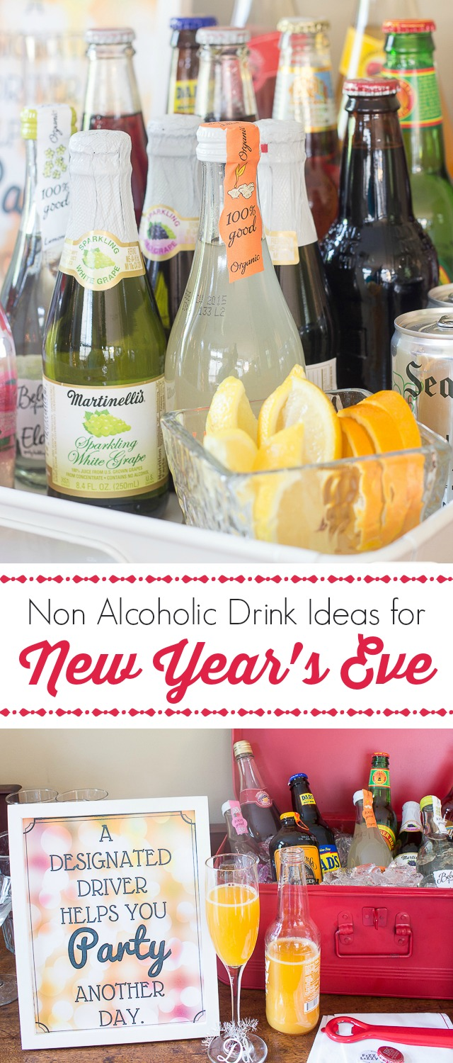 """Treat the designated drivers at your party like VIPs with a special bar filled with festive and fancy non alcoholic drinks. They'll love all these alcoholi-free """"beer"""" and """"wine"""" options."""