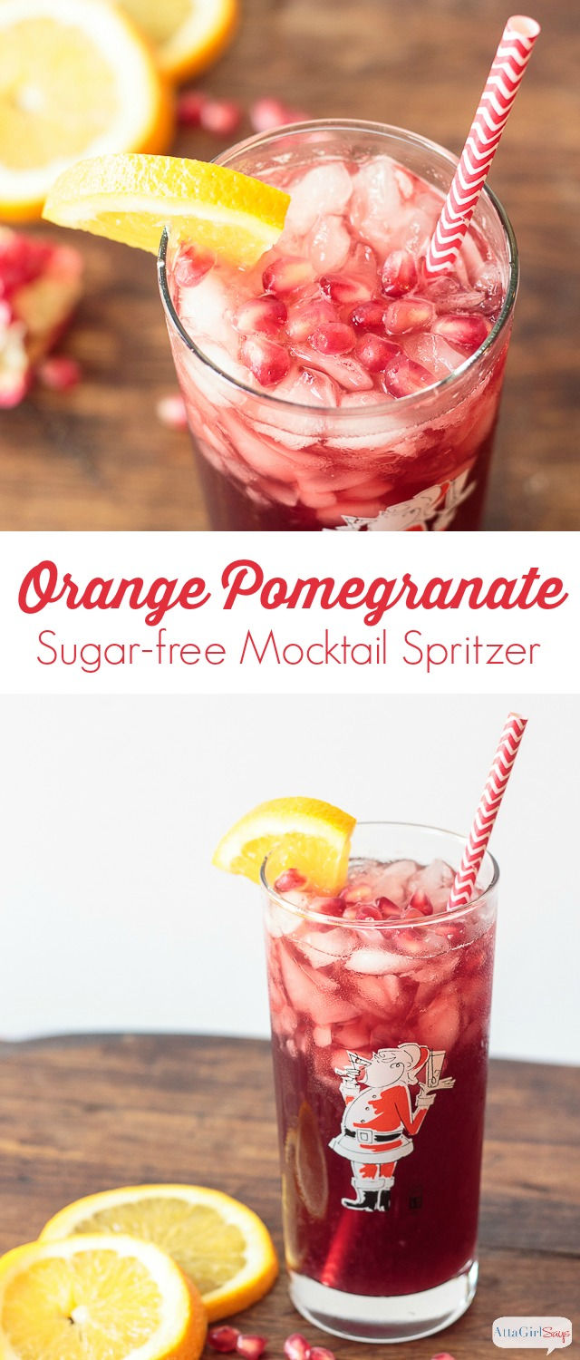 Made with freshly squeezed orange juice and unsweetened pomegranate juice, this orange pomegranate juice spritzer is a light and refreshing mocktail to serve at holiday parties. #ad #donthesitaste