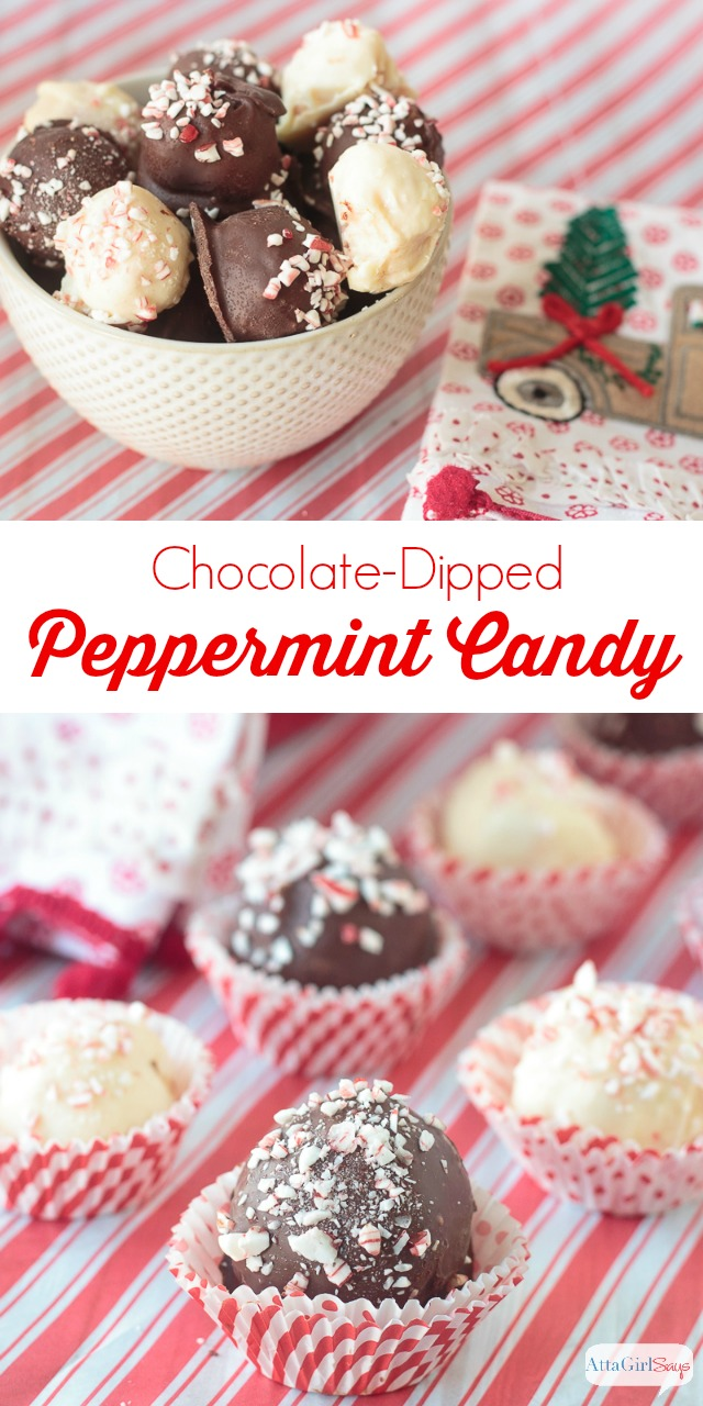 These chocolate-dipped peppermints are one of my favorite Christmas candy recipes. They have a sweet, creamy center center flecked with peppermint. I can't decide if they're better dipped in white chocolate or semisweet chocolate. Make up a bunch for neighbor gifts or reacher gifts, and you'll be everyone's favorite. #ad #worldmarkettribe