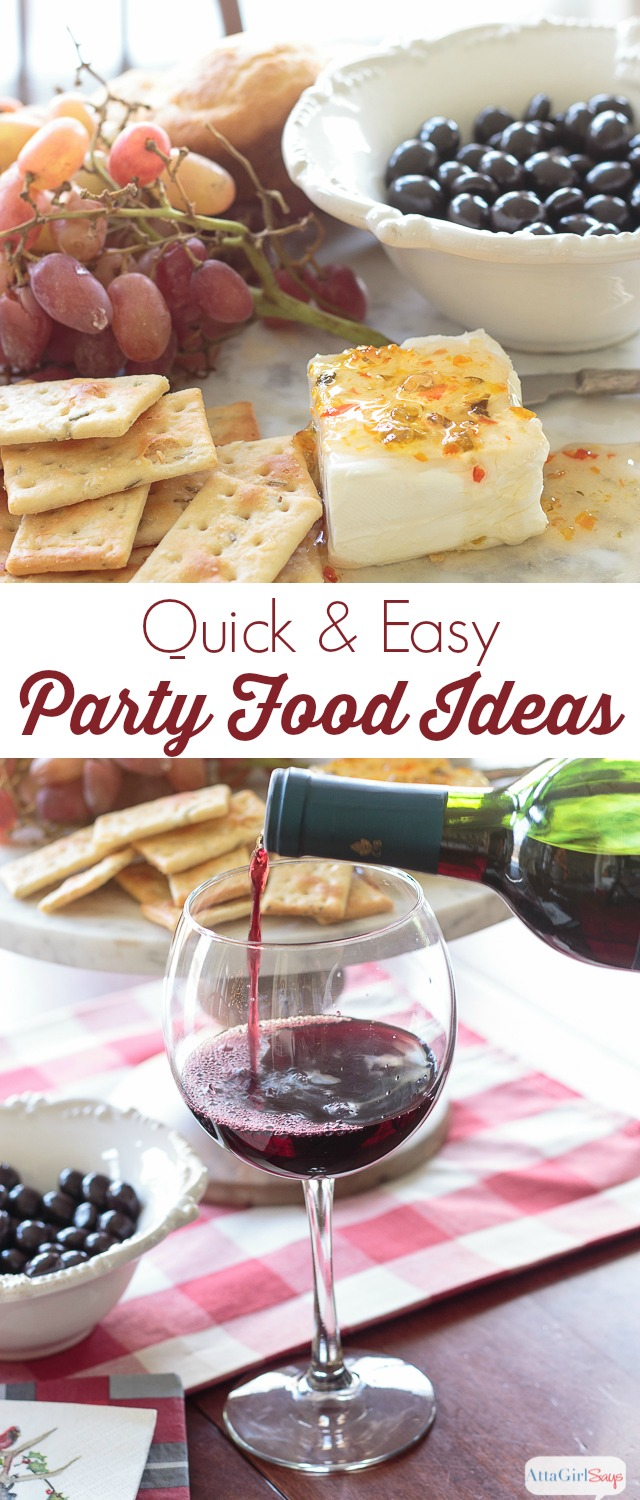 Holiday entertaining shouldn't be stressful or time consuming. You can shower your guests with hospitality without spending hours in the kitchen. Use these quick and easy party food ideas to pull together a casual cocktail party in minutes using simple snacks and serving pieces. #ad #TalkAboutDelicious