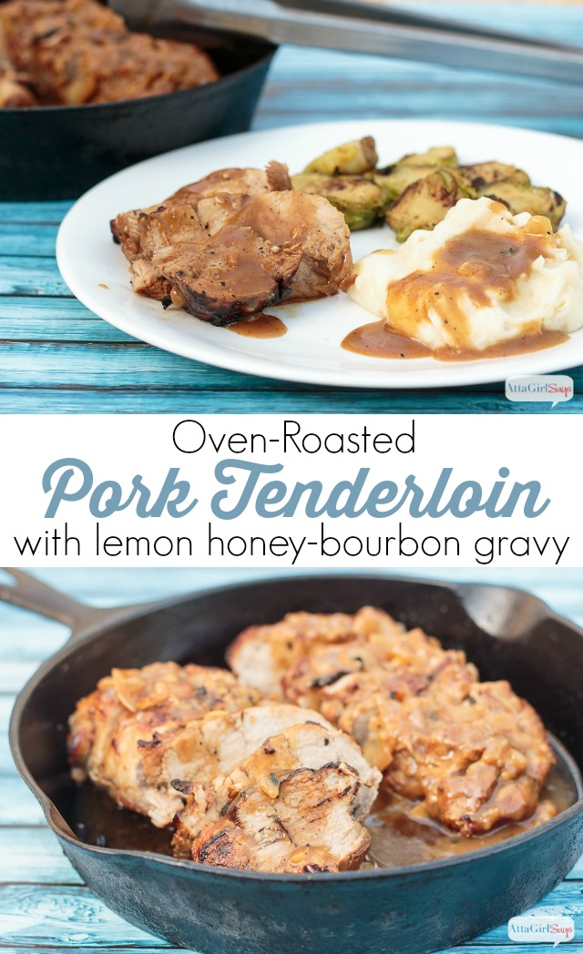 Looking for an easy weeknight dinner that also is good enough to serve as a holiday dinner? Then try this oven roasted pork tenderloin recipe with a delicious citrus honey-bourbon gravy. The pork is so tender and flavorful, and the homemade gravy just makes it even better. Serve with mashed potatoes and sauteed Brussels sprouts. It's sure to become a family favorite. #ad #SmithfieldPork