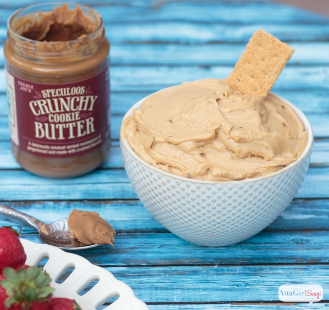 jar of cookie butter beside a bowl of cookie butter cream cheese dip
