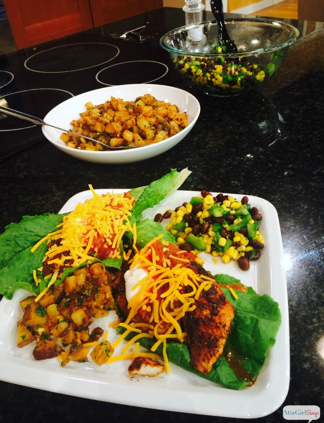 The Food Lion Frugal Cookoff is all about teaching busy families how to prepare healthy and cheap easy meals using everyday ingredients. Get the award-winning recipe for Healthy Fish Tacos, Mexican Potatoes and Corn & Black Bean Salad from the North Carolina Food Lion Frugal Cookoff #sponsored #FrugalCookOff
