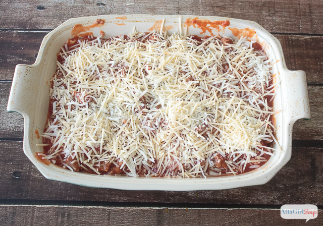 unbaked lasagna in a casserole dish