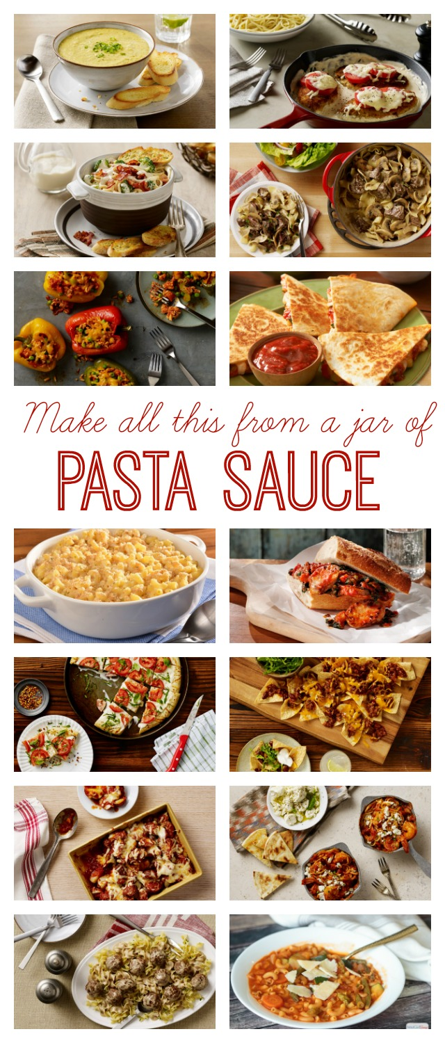 You'll always keep a jar of pasta sauce in your pantry after you see all the quick and easy meals you can make starting with a jar of your favorite sauce. Quesadillas, nachos, stuffed peppers, beef stroganoff, Swedish meatballs, plus dozens of pasta recipes, of course! #ad #simmeredintradition #ragu