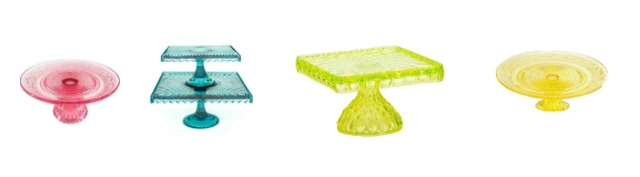 These colorful glass cake stands are great for serving, parties and for decorating. Learn where to buy them, plus see more of pretty cake stands at AttaGirlSays.com.