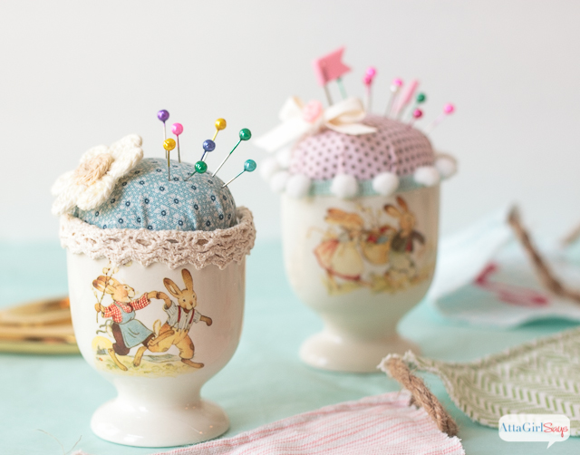 vintage easter egg cup pin cushions