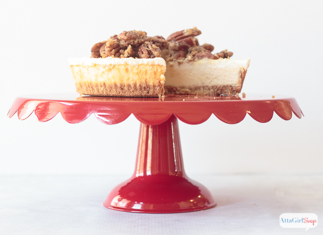 The next time you're at the grocery store, grab a Sara Lee cheesecake from the frozen section so you try this pecan pie cheesecake topping. It's really easy to make, and it's so good it will haunt your dreams. #ad #saraleedesserts #pmedia