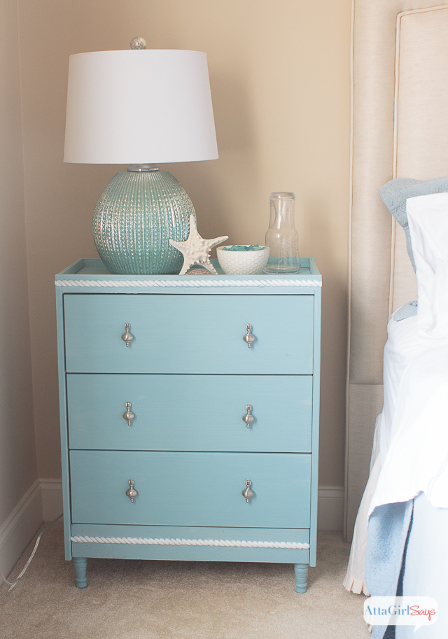 I just love this Ikea RAST Hack. The color and hardware are beautiful. And I love all the coastal touches, like the rope trim. #hickoryhardware #sponsored #Ikeahack