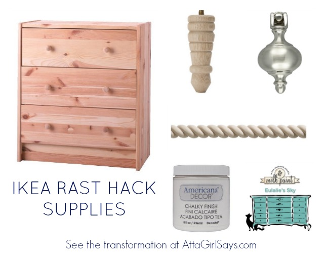 You'll need these basic supplies for this Ikea Rast Hack to transform a plain nightstand into a sophisticated three-drawer chest, inspired by furniture from Pottery Barn and Ballard Designs. #hickoryhardware #sponsored #ikeahack
