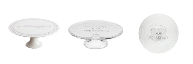 These cake stands are great for serving, parties and for decorating. These feature clever phrases and messages written on them. Learn where to buy them, plus see more of pretty cake stands at AttaGirlSays.com.