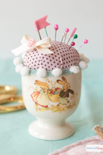 vintage Easter egg cup pin cushion