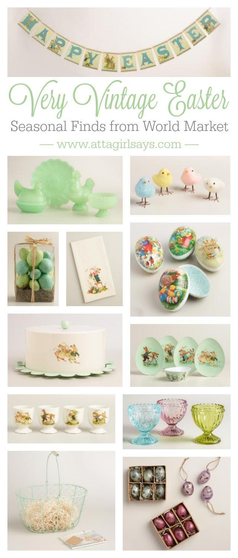 collage of vintage Easter decor