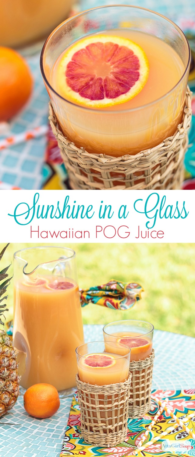 "Hawaiian POG juice ""sunshine in a glass"""