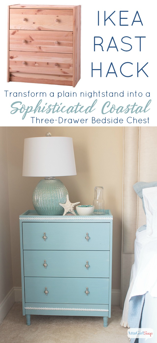 You don't have to have a lot of building experience to turn this simple pine dresser into a gorgeous nightstand. This Ikea Rast hack has a sophisticated coastal vibe that is perfect for a beach house or for a tranquil bedroom space. #hickoryhardware #ikeahack #sponsored