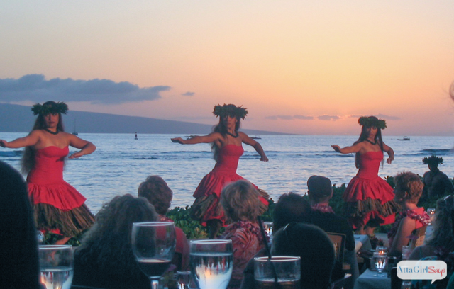 hula dancers at sunset at Hawaiian luau in Lahaina, Maui