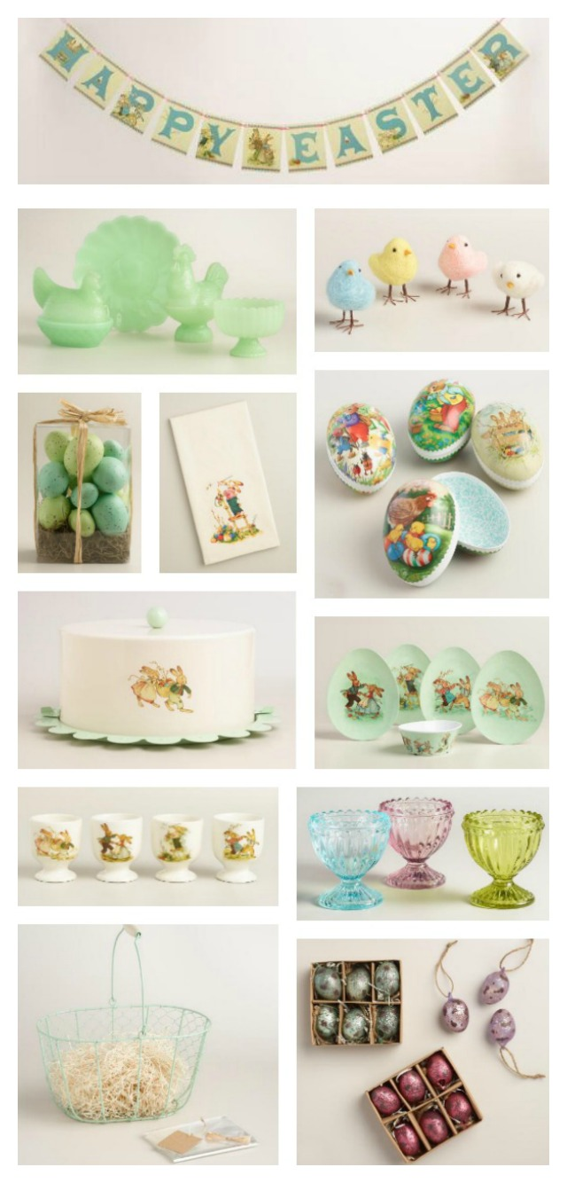 collage of vintage style Easter decor from World Market