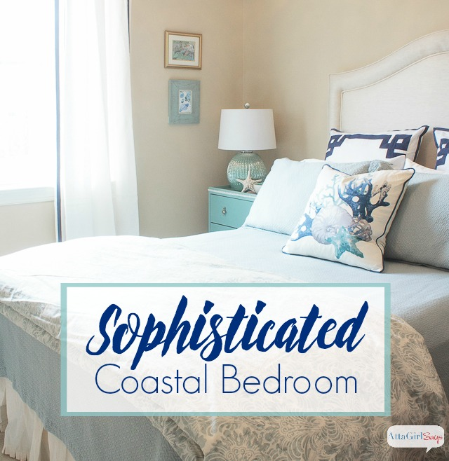 This is such a beautiful, serene space. I love all the sophisticated coastal decor in this guest bedroom. It reminds me of a boutique hotel or an upscale beach house.