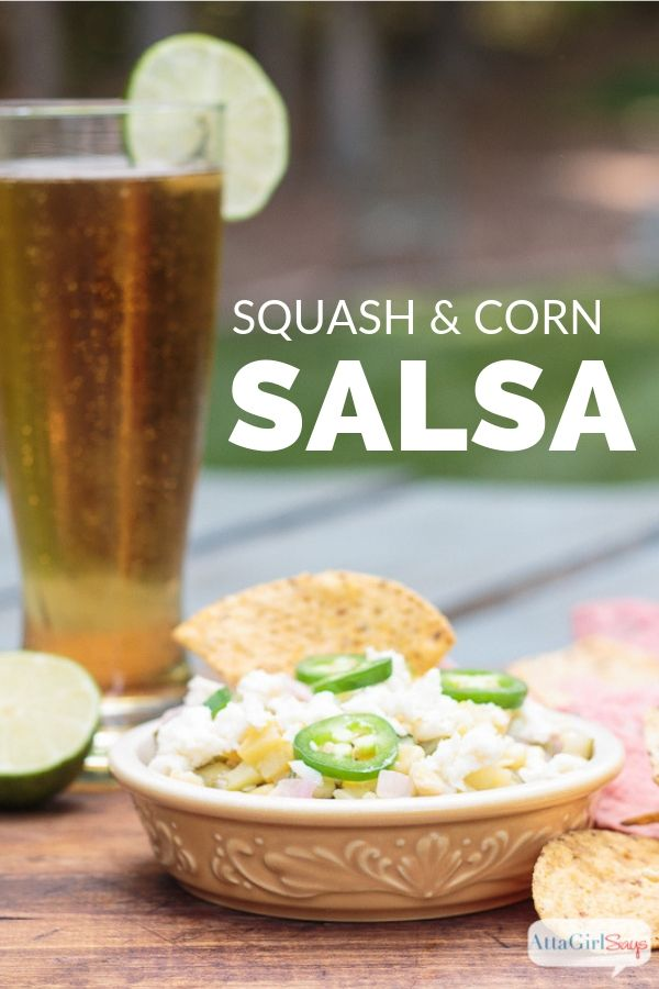 corn and squash salsa with chips