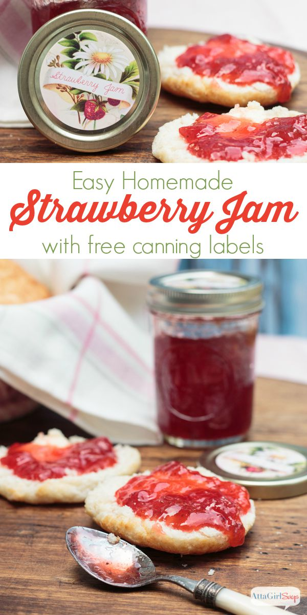 A delicious and easy homemade strawberry jam recipe, plus free printable canning labels for a variety of jams, jellies, preserves and pickles. Get the step by step directions to make the jam, plus download free canning jar labels.