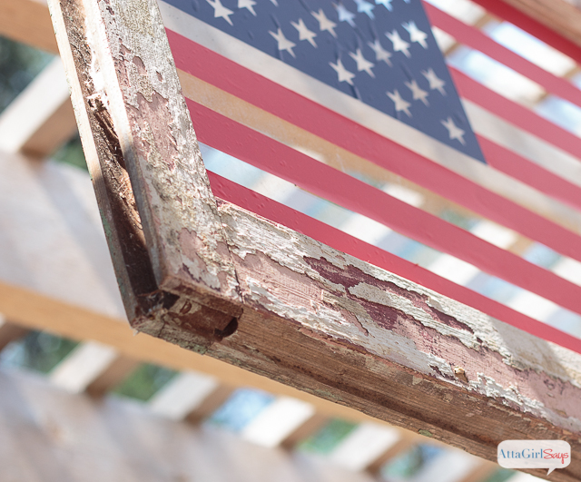 Learn how to make American flag art from an old window. This blog has so many amazing patriotic ideas for Memorial Day, Flag Day and July 4th.