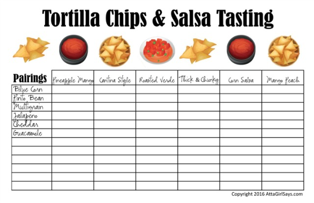 Download a blank copy of this free chips and salsa pairings worksheet and get tips for planning the ultimate snack and beer tasting party at AttaGirlSays.com. #sponsored #FoodShouldTasteGood