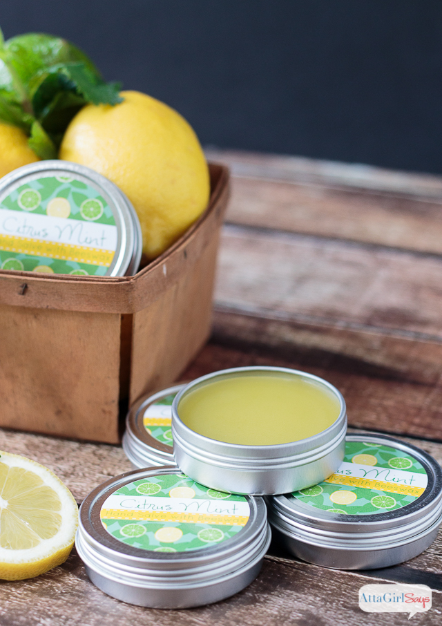 Super homemade gift idea! This DIY hand salve is an excellent moisturizer for dry skin, hands and feet. The citrus mint fragrance smells amazing. You can make your own for a fraction of what you would pay at bath and body stores. Click for the easy recipe and step-by-step instructions for how to make it. Plus, you can download and print free labels so you can make the hand salve as a gift.